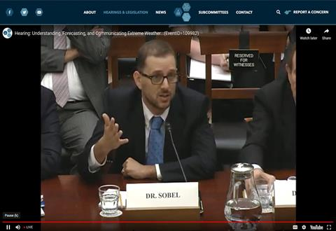 Adam Sobel Testifies on Extreme Weather and Climate Change: Uncertainty Is Not Our Friend