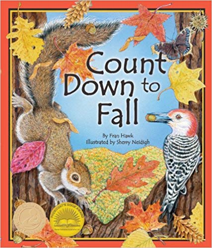 The cover of the Countdown to Fall book, which has a bird , butterfly, and squirrel in the crook of a tree with falling autumn leaves around them.