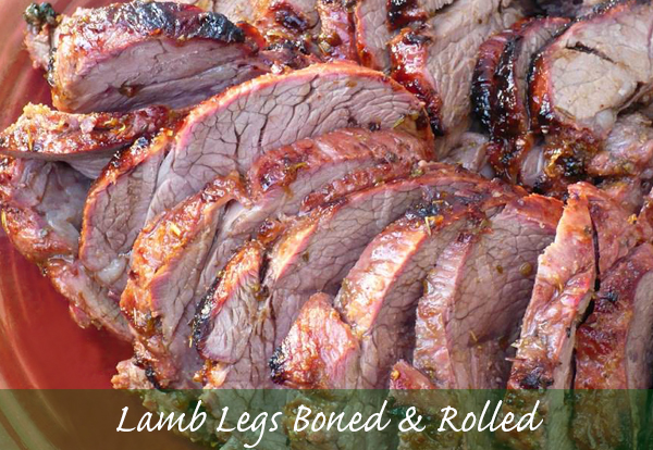 Lamb Legs Boned and Rolled Or Lamb leg stakes and minted
