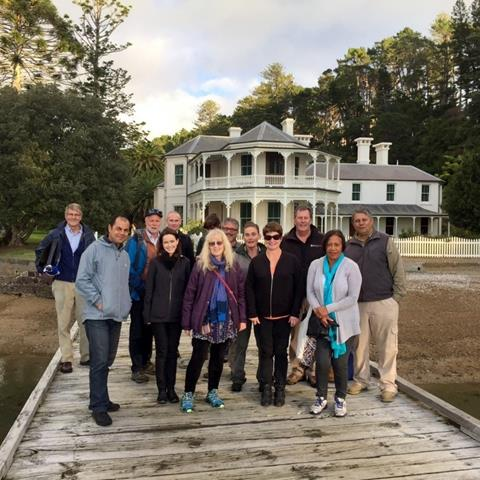 Auckland Conservation Board and DOC staff - Mansion House, Kawau Island.  Photo: Piers Barney