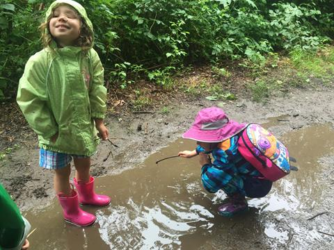 Two children playing in a puddle