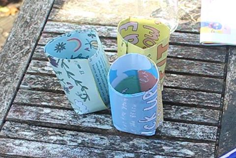 Plant pots made from newspaper.