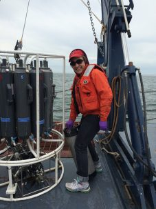 Oceanographer and climate cycle scientist Galen McKinley on the RV Blue Heron in Lake Superior, June 2016. Courtesy Galen McKinley