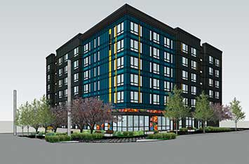 A rendering of the corner of the proposed Burien Supportive Housing building