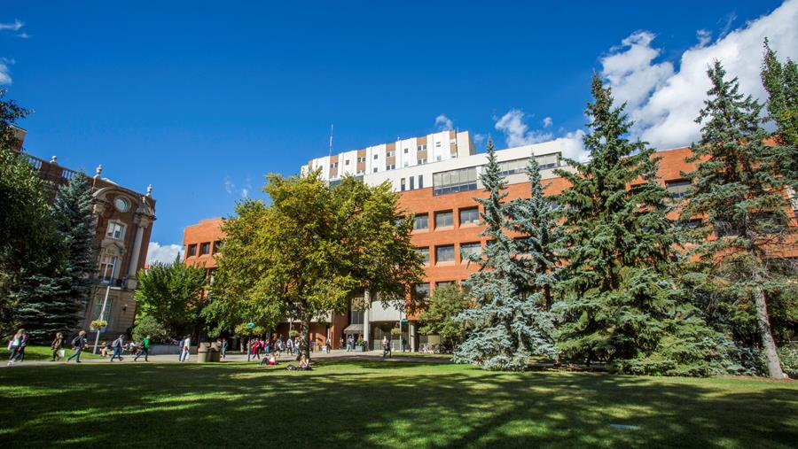 image of the Alberta School of Business building taken from the Business/Arts Quad.