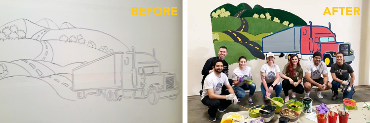 Before & After Photos of Mural Project