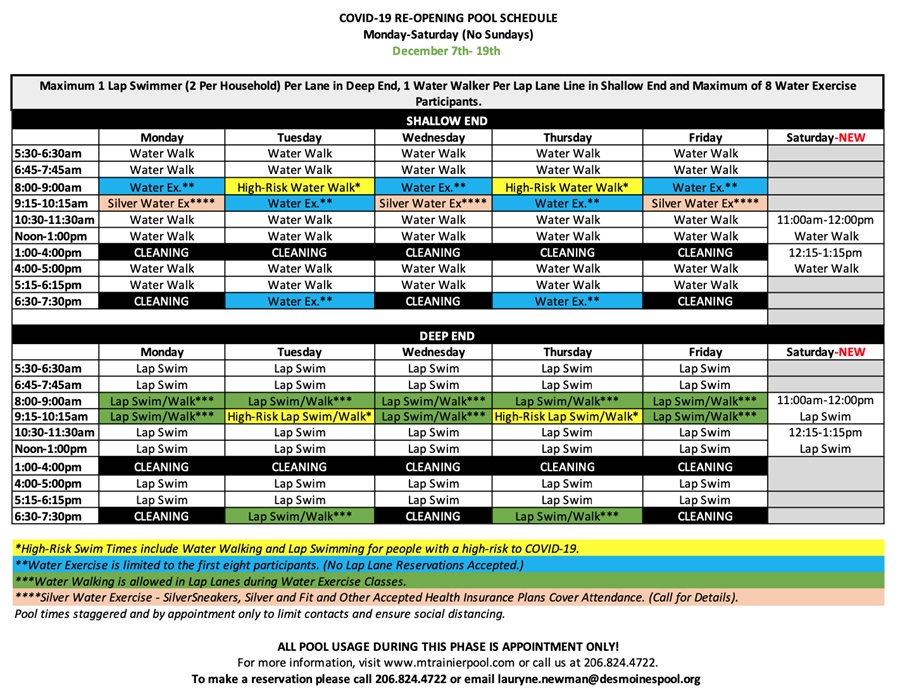 Image of August 3 - September 6 Schedule (If cannot see email info@mtrainierpool.com to get a copy.)