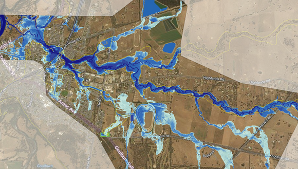 Flooded creek on a satellite map