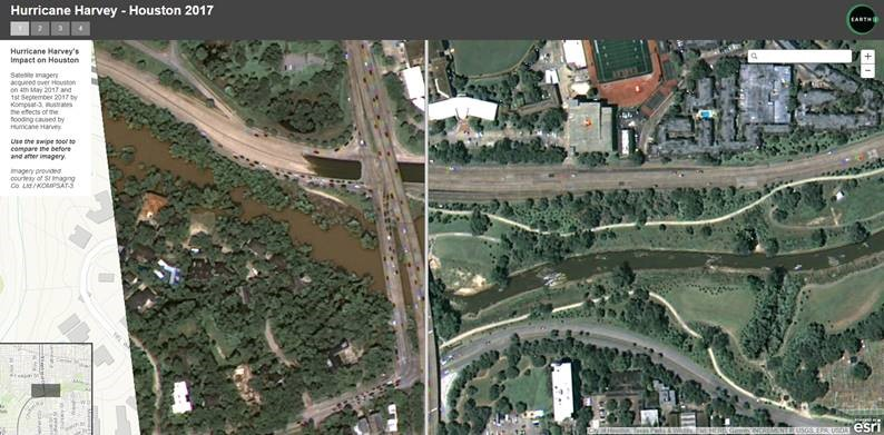 Swipe to compare imagery over Houston