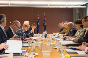 Minister of Defence Marise Payne meeting her NZ counterpart Ron Mark in Wellington. Credit: Marise Payne via Twitter