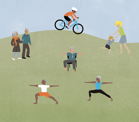 Illustrated image of a variety of people in a park, riding bikes, walking and doing yoga.