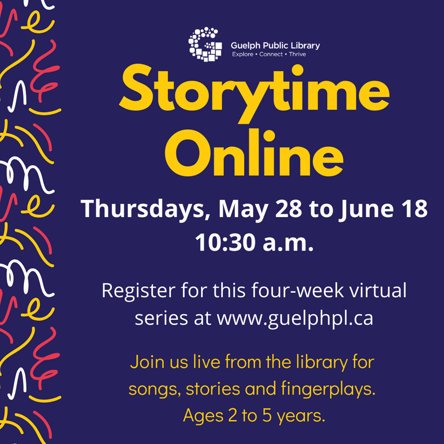 Coming to you live from the library, it's our new Storytime Online! Join us for 20 minutes of songs, stories and fingerplays. Ages 2 to 5 years. Registration required.