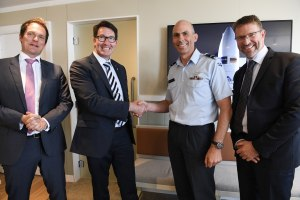 Airbus Australia Pacific Board Chairman, Matthieu Louvot; Airbus Australia Pacific Managing Director Andrew Mathewson; NZ Chief of Air Force, Air Vice Marshal Andrew Clark; and Airbus Senior Program Manager NZ Operations, Geoff Blake. Airbus