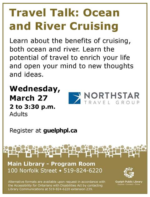 Register for our Travel Talk about ocean and river cruising on Wednesday March 27 from 2 to 3:30pm at the Main Library. Adults.