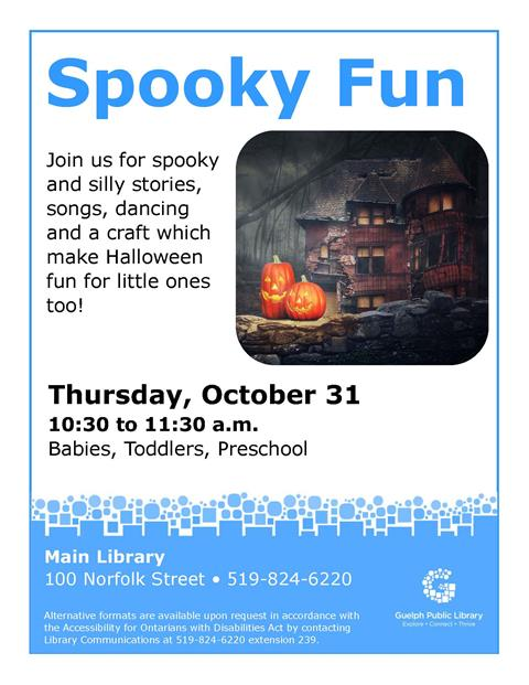 Spooky and silly stories, songs, dancing and a craft make Halloween fun for little ones too!
