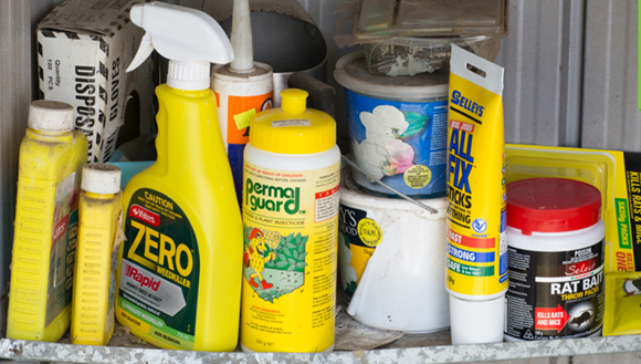 Chemicals in garden shed