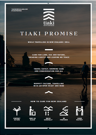 Image of a poster created for the launch of the Tiaki Promise
