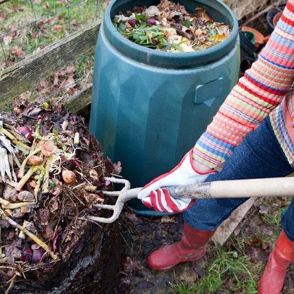 Lady shoveling compost