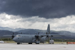 A RAAF C-130J Hercules delivers humanitarian aid to Palu, Indonesia.