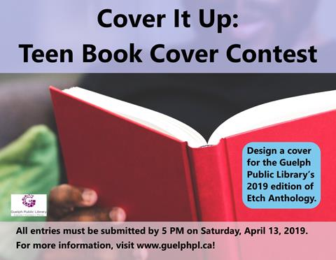 This is the poster for Cover it up: teen book cover contest. There are multiple dates available in February for teens to attend the Main Library and draw.