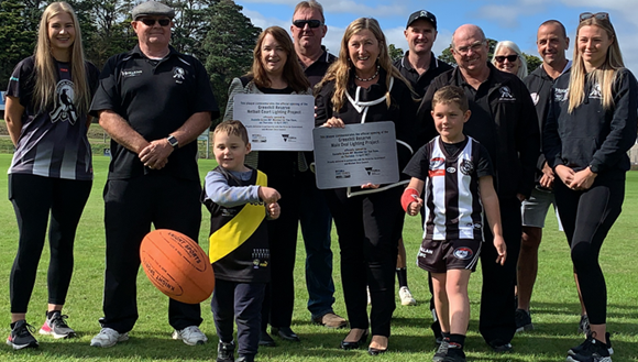 : Mitchell Shire Mayor Cr Rhonda Sanderson and Member for Yan Yean Danielle Green MP with community user group representatives at the launch of the Greenhill Reserve Oval Lighting project.