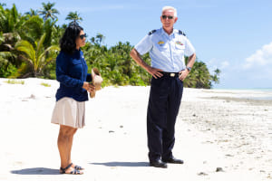 CEO of the Cocos-Keeling Islands Shire Andrea Selvery gives Commander Joint Task Force 661 Air Commodore Richard Owen a tour of the islands. Defence