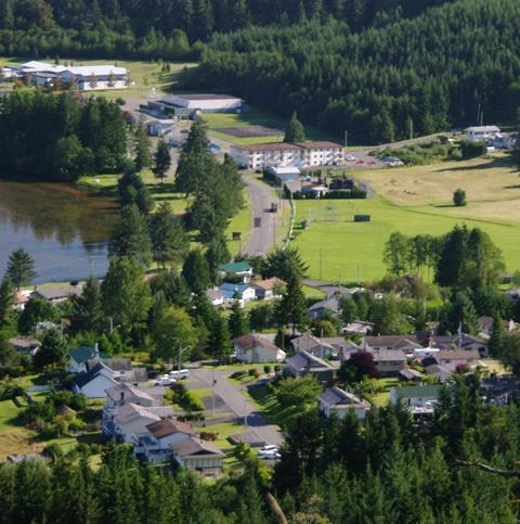 Aerial image of Sayward, a rural community in Strathcona Regional District.