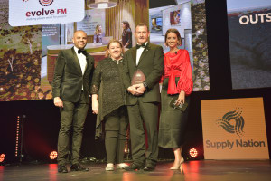 Evolve FM winning the Outstanding Impact of the Year award: Luke Carroll, Cath Brokenborough (Lendlease), Steve Mackintosh (Evolve FM), Brooke Boney.