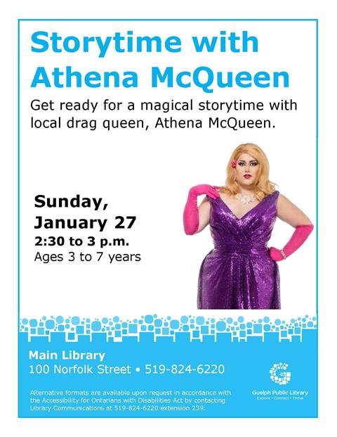 This is the poster for Storytime with Athena McQueen. It is being held at the Main Library on Sunday, January 27 from 2:30 to 3:00 p.m.