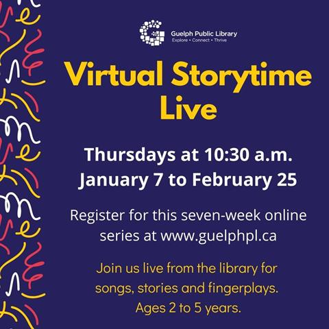 Coming to you live from the library! Join us online for 20 minutes of songs, stories and fingerplays. Ages 2 to 5 years.  Please register once per household for this seven-week series.