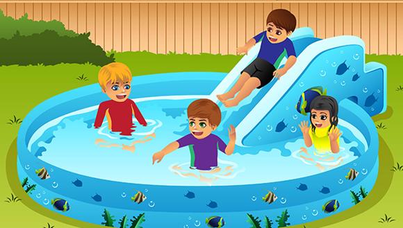 Cartoon image of kids in inflatable pool