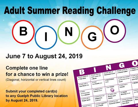 This is the poster for the Adult Summer Reading Challenge. Complete a line of reading challenges on our bingo card and be eligible to win a prize.