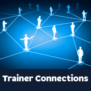Trainer Connections in white text in front of black background centered at the bottom. Blue background with glowing lighter blue lines connecting glowing blue and white faceless silhouettes of numerous people.