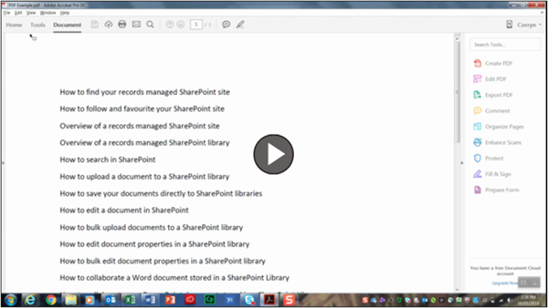 Watch 'How to save your PDFs directly into your records managed SharePoint libraries'
