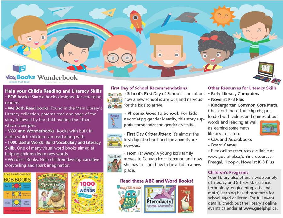 Library advertisement for helping your child with the first day of school and early literacy development. For a full list, please contact the children's librarian at askus@guelphpl.ca.