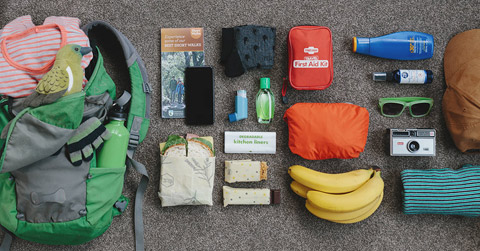Walking gear laid out.
