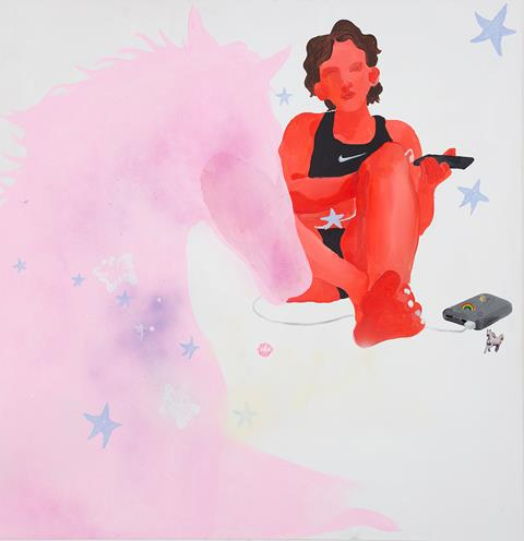 Image description: Dream-like painting of a person wearing a black 'Nike' vest, holding a remote control and charging a smartphone. Covering the left side of the painting is the outline of a light pink horse.