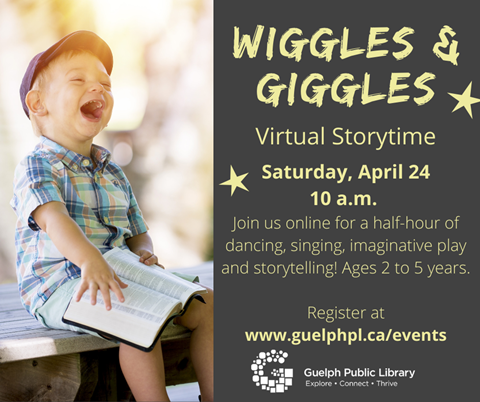 Library advertisement for Wiggles & Giggles Storytime on Saturday, April 24 at 10 a.m. Registration is required.