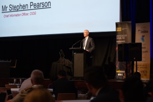 CIOG Stephen Pearson opening the MilCIS conference. Michelle Kroll/UNSW