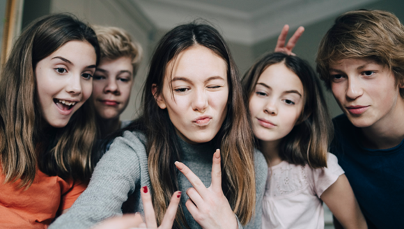 Group of teenagers goofing around
