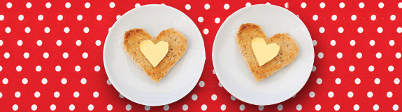 Photo of: Toast in heart shape.