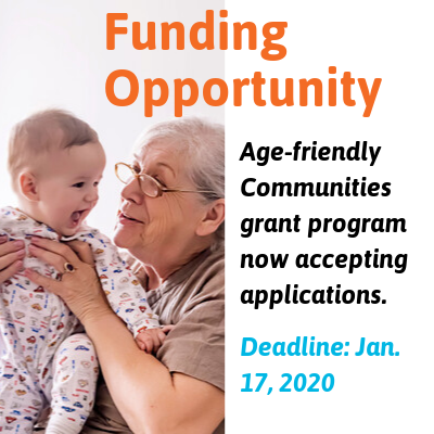 A Funding Opportunity announcement graphic for the Age-friendly Communities grant program