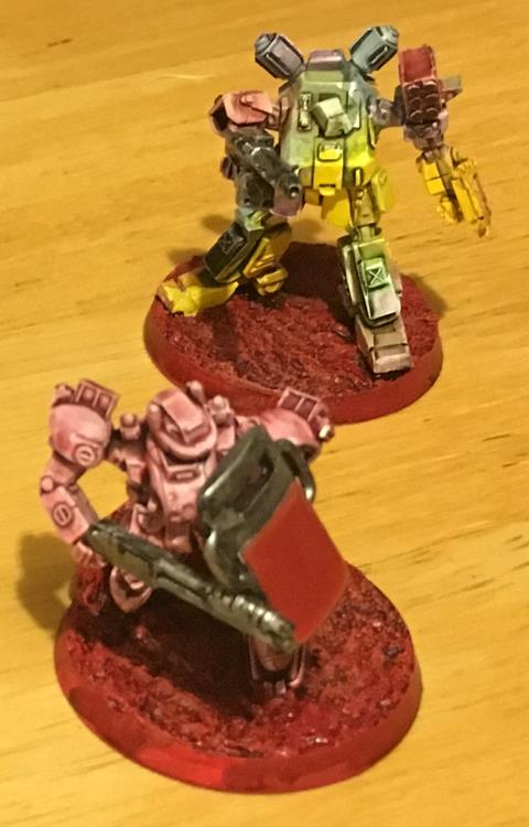 Two painted robots