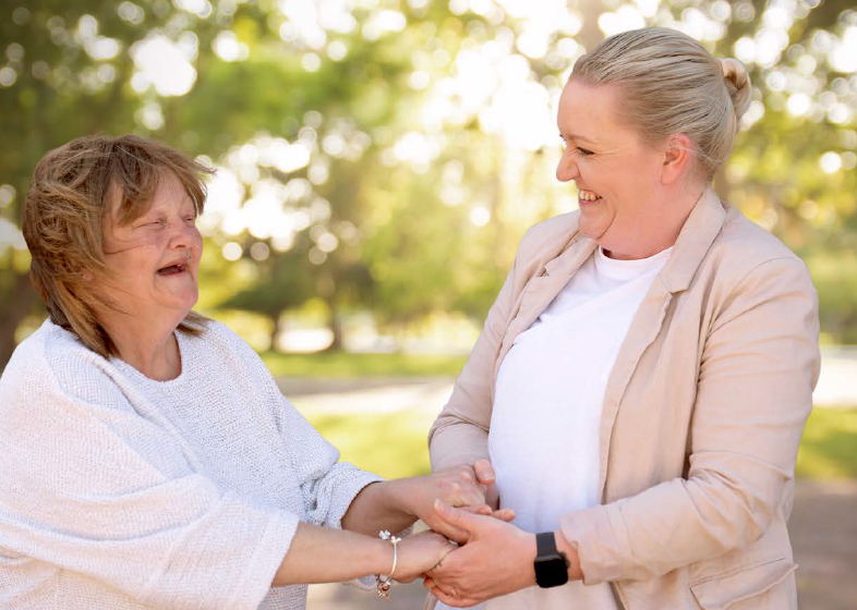 Image of Tammy and Carly, who worked together towards Tammy's goal of living independently.
