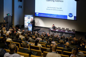 Minister for Defence Industry Christopher Pyne delivering the opening keynote. Credit: ADM Philip Smart