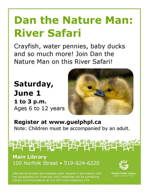 Join us at the Main Library on June 1 at 1pm for our Dan The Nature Man: River Safari Event. Please register.