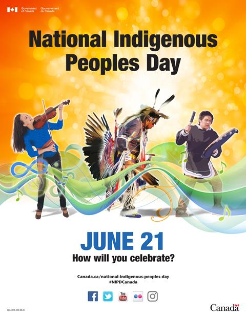 """This is a poster created by Canada Heritage featuring three Indigenous People playing a violin, drum and dancing. The text states """"National Indigenous Peoples Day. June 21. How will you celebrate?"""""""