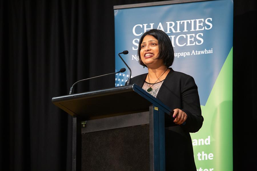 Hon Priyanca Radhakrishnan speaking at the Annual Meeting