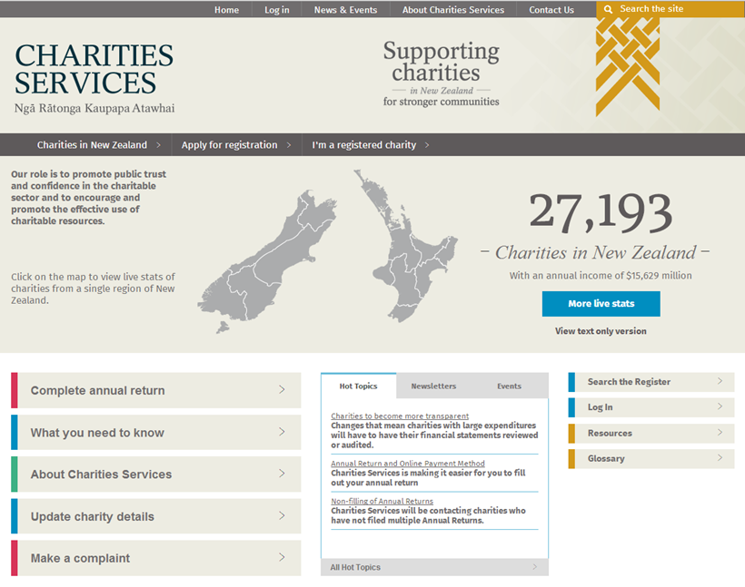 Screenshot of Charities Services' new website