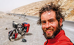 Author Jeremy Scott on the road with his pushbike